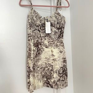 strapped toile printed bustier style dress